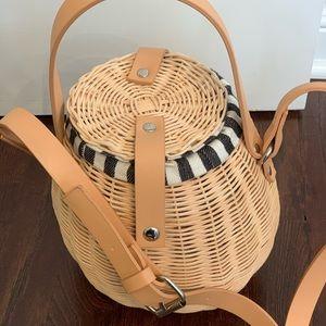 Zara raffia bucket bag crossbody
